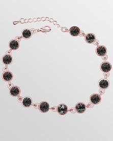 Btime Rose Gold Round Black Crystal Tennis Bracelet