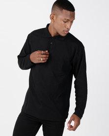 Utopia Black Long Sleeve Polo Tee