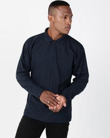 Utopia Navy Long Sleeve Polo Tee