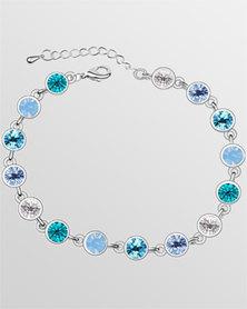 Btime Aquamarine Round Crystal Tennis Bracelet