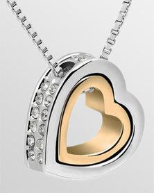 Btime Silver & Gold Double Heart Pendant