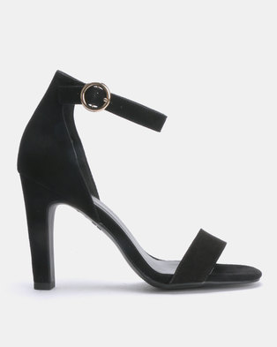7756fbd6944 New Look Wayne Suedette Circle Buckle Two Part Heeled Sandals Black