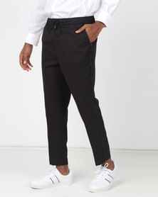 New Look Side Piped Pull-On Trousers Black