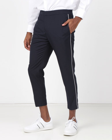New Look Side Piped Trousers Navy