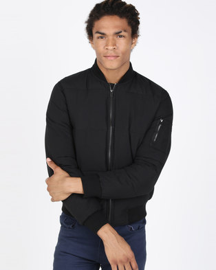 New Look Puffer Bomber Jacket Black