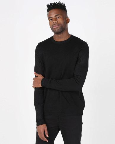 New Look Textured Crew Neck Jumper Black
