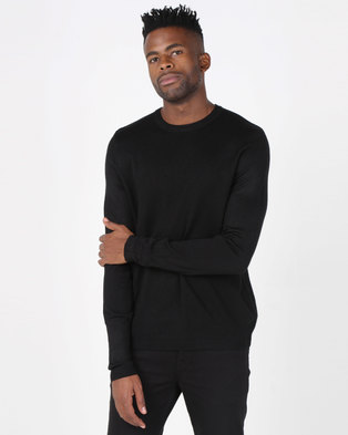 New Look Textured Crew Neck Jumper Black