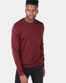New Look Textured Crew Neck Jumper Burgundy