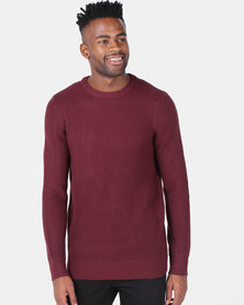 New Look Stitch Knitted Jumper Burgundy