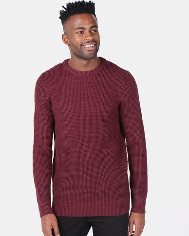 New Look Stitch Knitted Jumper Burgundy