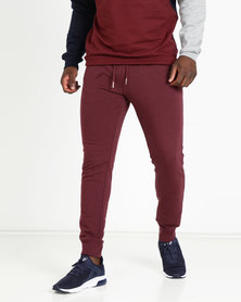 New Look Ribbed Cuff Joggers Burgundy