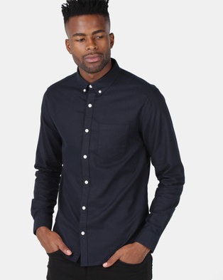 New Look Cotton Long Sleeve Oxford Shirt Navy