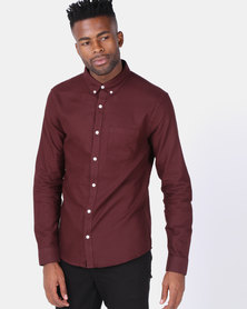 New Look Cotton Long Sleeve Oxford Shirt Burgundy