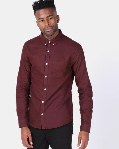 New Look Cotton Long Sleeve Oxford Shirt Burgundy