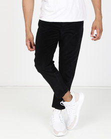 New Look Slim Crop Corduroy Trousers Black
