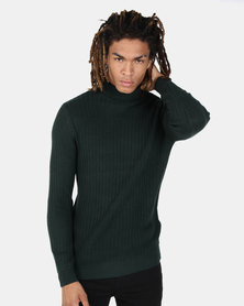 New Look Racking Stitch Roll Neck Jumper Dark Green