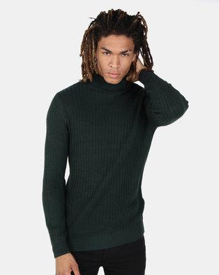 New Look Racking Stitch Roll Neck Jumper Dark Green
