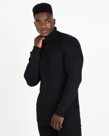 New Look Racking Stitch Roll Neck Jumper Navy