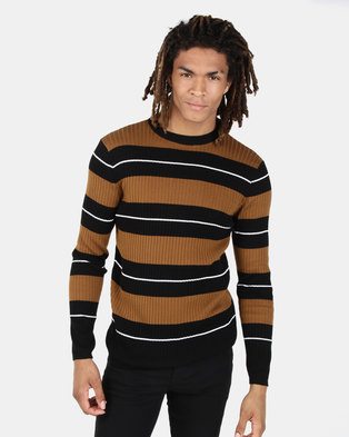 New Look Stripe Ribbed Crew Neck Jumper Rust