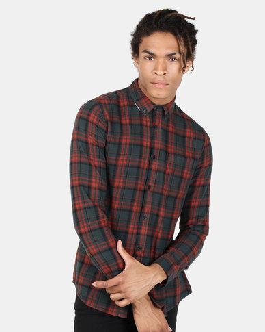 New Look Highlight Check Long Sleeve Shirt Dark Red