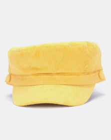New Look Corduroy Baker Boy Hat Mustard