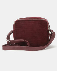 New Look Corduroy Camera Bag Burgundy