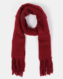 New Look Longline Boucl Scarf Burgundy