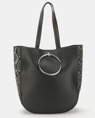 New Look Faux Snake Panel Ring Front Tote Black