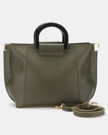 New Look Resin Handle Tote Bag Khaki
