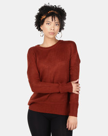 New Look Curved Hem Jumper Rust