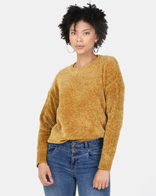New Look Chenille Slouchy Jumper Mustard