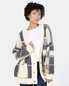 New Look Check Oversized Cardigan White Pattern