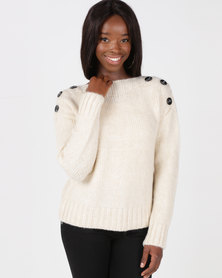 New Look Button Shoulder Jumper Cream