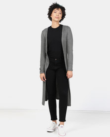 New Look Fine Knit Rib Longline Cardigan Khaki