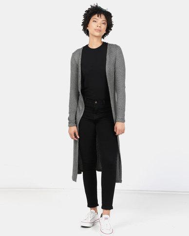 New Look Fine Knit Rib Longline Cardigan Khaki