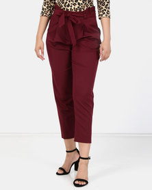 New Look Fine Paperbag Waist Trousers Burgundy