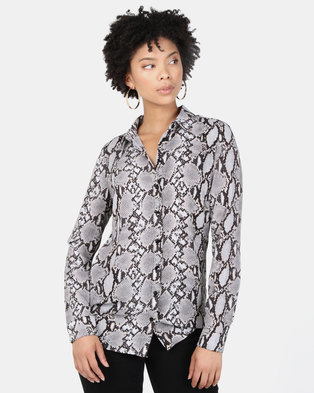 New Look Animal Print Shirt Grey Pattern