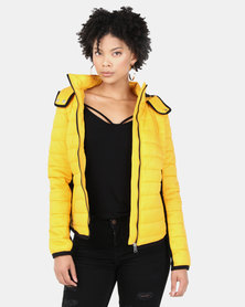 New Look Hooded Lightweight Puffer Jacket Mustard