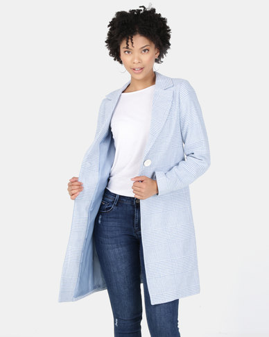 New Look Houndstooth Check Print Longline Coat Pale Blue