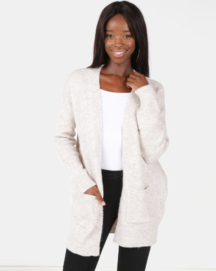 New Look Pocket Front Longline Cardigan Nude