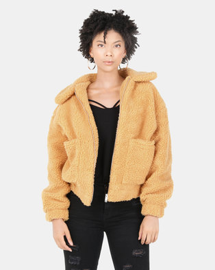 New Look Teddy Borg Pocket Front Jacket Dark Yellow