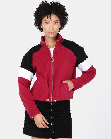 New Look Colour Block Fleece Jacket Dark Burgundy