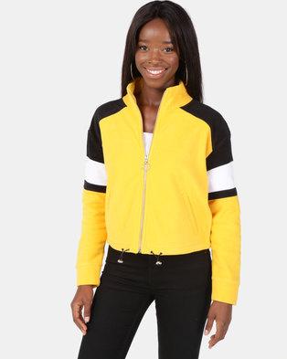 New Look Colour Block Fleece Jacket Dark Yellow
