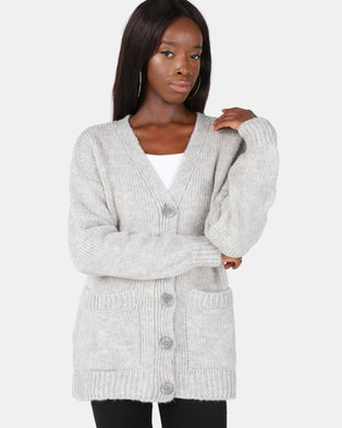 New Look Button Up Oversized Cardigan Pale Grey