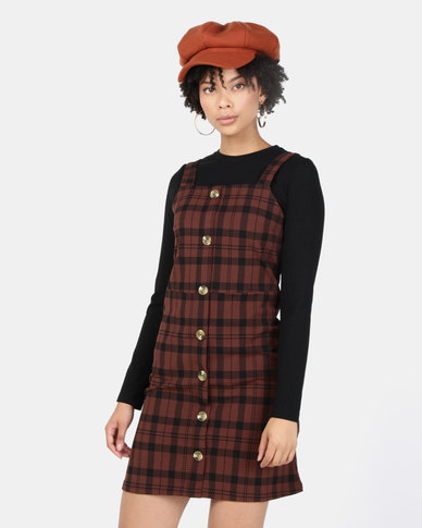 New Look Check Button Front Pinafore Dress Brown