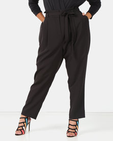 New Look Curves Paperbag Waist Tapered Trousers Black