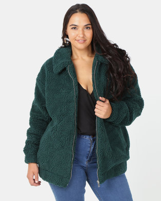 864750a0a46ef6 New Look Curves Teddy Borg Bomber Jacket Dark Green