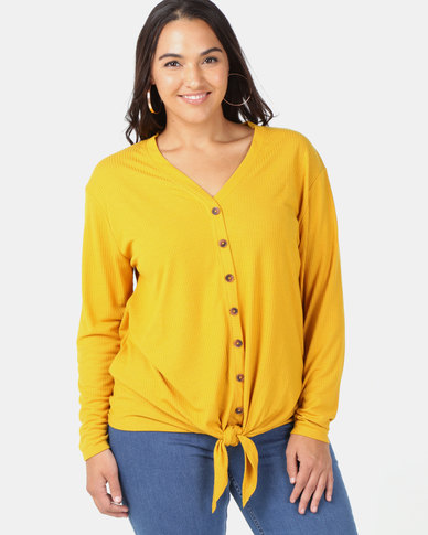 New Look Curves Button Tie Front Top Yellow