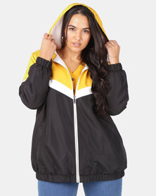 New Look Curves Block Fleece-Lined Windbreaker Mustard