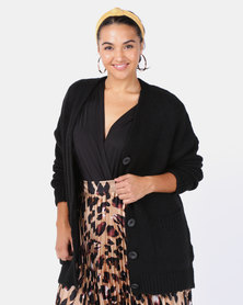 New Look Curves Black Pocket Front Button Up Cardigan
